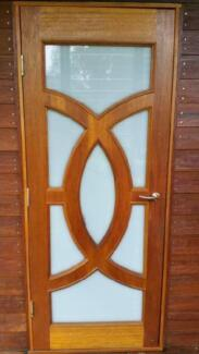2 X TROJAN MAPLE ENTRANCE DOOR GLAZED FROSTED - OLYMPIC