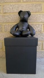 Coco de Mer Black Leather Teddy Bear in rubber box – Exclusive Limited Edition