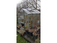 Garden Greenhouse Aluminium And Glass Construction. Approx 8 x 6 Ft