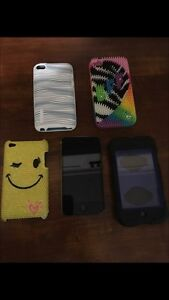 iPod Touch 4 with 4 cases