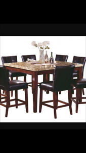 The Brick 5pc pub style faux marble dining room set