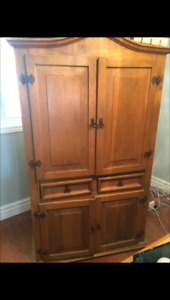 Antique TV Hutch/Armoire Cabinet - Handmade Solid Pine