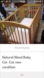 Natural wood cot with mattress