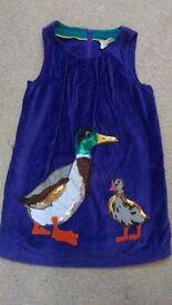 Mini Boden purple velvet applique duck dress age 3-4