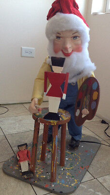 Vintage Animated Mechanical Hamberger Store Display Figure Christmas Elf Gnome