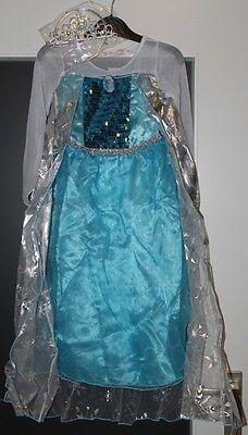 Disney Frozen Elsa Kostüm mit Schneeglitzerumhang Kleid 128 mit Krone Karneval