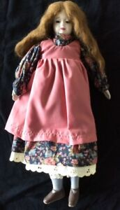 """ANTIQUE 14"""" DOLL WITH CERAMIC FACE"""