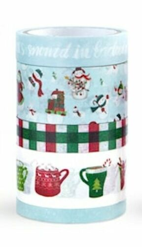5 Rolls Holiday Winter Fun Snowman Hot Cocoa  Washi Tape Planner Supply Crafts