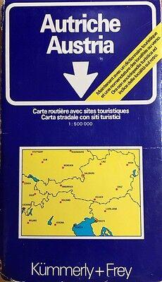 Austria Road Map 1:500,000  (1977, Kummerly+Frey).  Unfolds to 90x128cm.