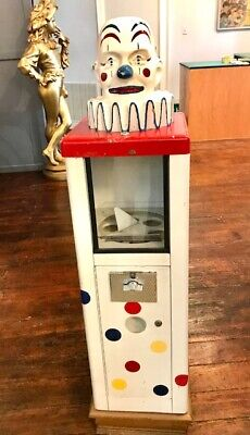 Candy Or Toy Vending Machine With Clown Head Vintage Original 1950s Era