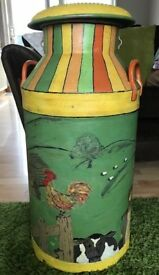 Hand painted 10 gallon vintage milk churn - Vicarage Farm Dairies