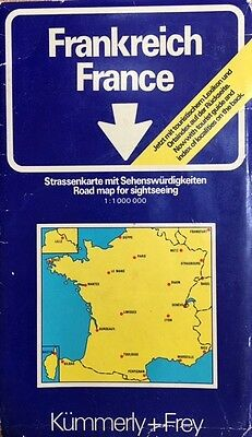 France Road Map, Scale 1:1000000 (1977, Kummerly+Frey).  Unfolds to 90x100cm.