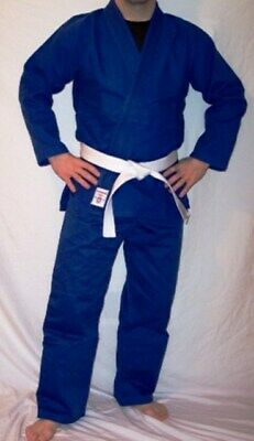 NEW! Warrior-One Hybrid Uniform Judo Gi BJJ Kimono - Single or Double Weave Blue Double Weave Judo Uniform