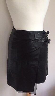 Reed Krakoff SZ 0/S/XS Black Leather Wrap Skirt w Front Buckles Asymmetrical Hem