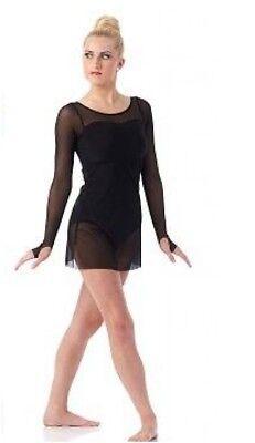 Child S Black Contemporary Ballet Dance Dress Costume Sheer Long Sleeved