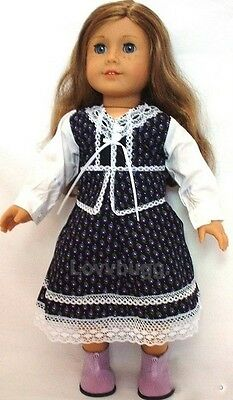 "Lovvbugg Calico 70s Dress for 18"" American Girl Doll Clothes"