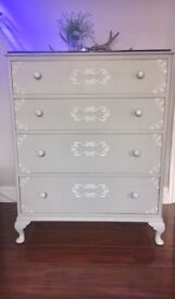 Vintage Retold Queen Anne grey refinished chest of drawers.