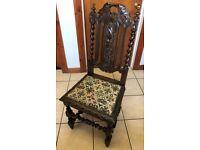 Antique Carved Oak, Barley Twist Chair