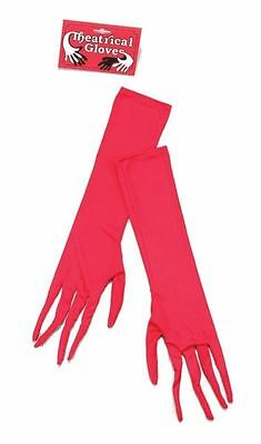 Ladies Long Red Gloves with Padded Nails - Halloween Devil Fancy Dress - New