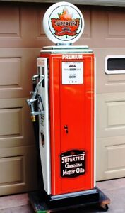 SUPERTEST VINTAGE GAS PUMP, GUN LOCKER, STORAGE/LIQUOR  CABINE