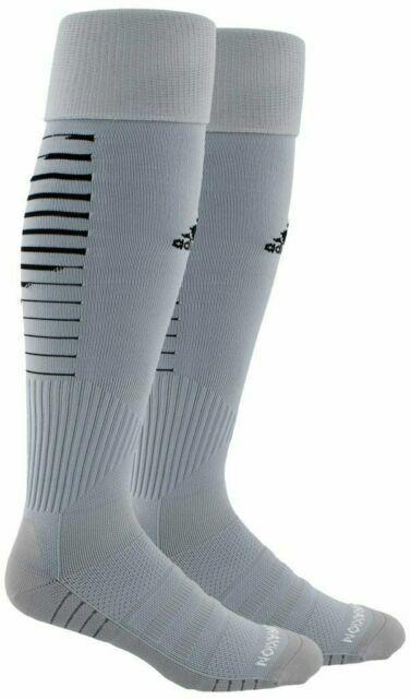 Adidas Soccer Team Speed Socks, Shoe 13C-4Y, Small, Gray, Bl