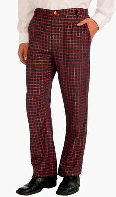 Adult Ugly Plaid Pants Men Christmas Red Green Glitter Gold Costume Parties Nerd - Nerd Pants Costume