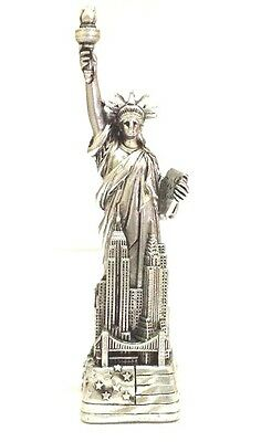 "4"" Statue of Liberty Figurine w.Flag Base and New York City SKYLines NYC #Silver"