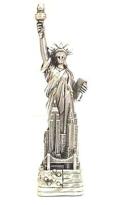 4  Statue Of Liberty Figurine W Flag Base And New York City Skylines Nyc  Silver