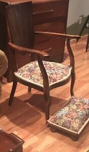 Antique Solid Wood Side Chair With Footstool