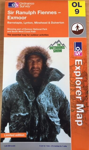 NEW Ordnance Survey OL9 MAP Limited Edition Sir RANULPH FIENNES Exmoor