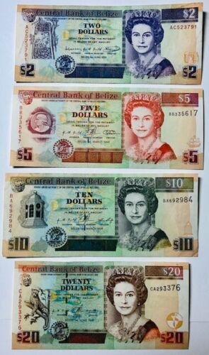 BELIZE - Queen Elizabeth II - $2, $5, $10 & $20 Banknotes