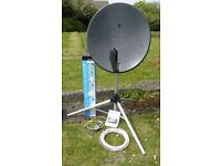 Satellite dish, folding tripod stand, cable and signal finder