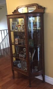 Antique China / Display Cabinet with rounded glass