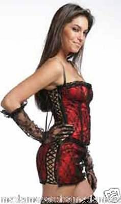 Sexy Nero Raso Rosso Bustino Corsetto Burlesque Donna Costume UK 08-10