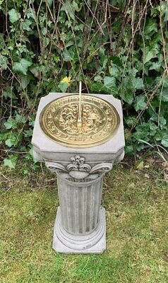 Stone cast garden ornnament - plinth sundial -  Antique look