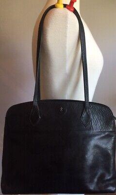Henry Cuir Beguelin Black Leather Satchel Tote Hand Bag #1542