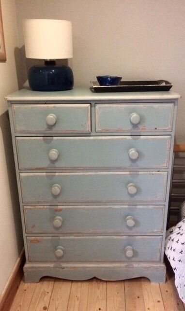 Chest Of Drawers Pine Blue Cream Distressed Paint Finish