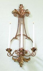 GORGEOUS ITALIAN GOLD IRON/TOLE CANDLE WALL SCONCE,25''TALL.