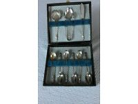 Apostle Spoon Set with sugar tongs etc, silver plated, antique