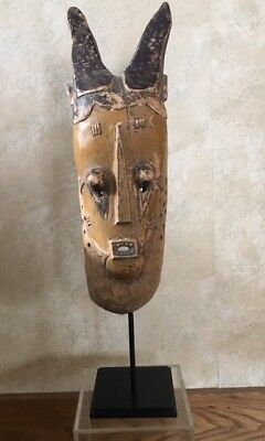 VINTAGE African wooden mask-1970's w custom made Museum quality Mount