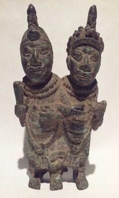 Antique Benin cast Bronze Sculpture of a Royal Couple