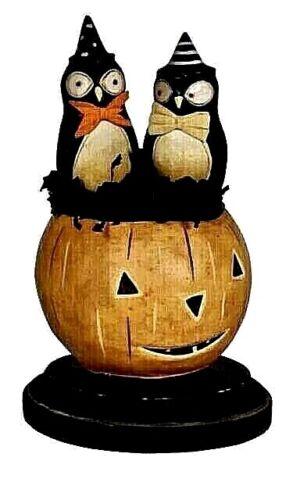 Whimsical Bethany Lowe Halloween Jack O Lantern & Owls~  What A Hoot ~ Retired