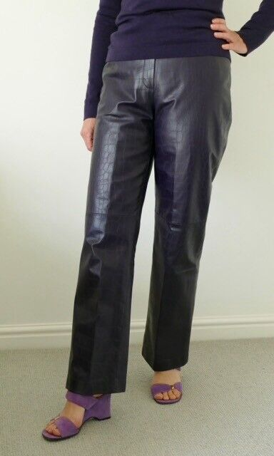 Ladies purple leather Betty Barclay trousers. Size is a generous UK 10. Fully lined and well made.