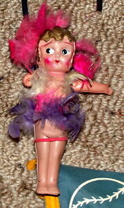 """Celluloid  Cupid 6 1/2 """" doll on cane with pennant $25 London Ontario image 1"""