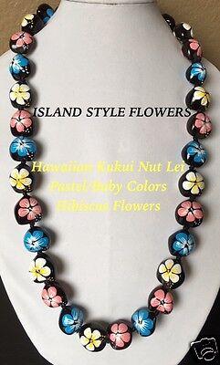 Kukui Nut Lei Pastel/Baby Hibiscus Flower Necklace Hawaiian Graduation Wedding