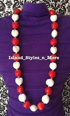 Hawaii Wedding Kukui Nut Lei Graduation Luau Hula Party Necklace SOLID RED WHITE
