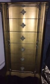 GOLD TALLBOY - CHEST OF SIX DRAWERS - GORGEOUS!