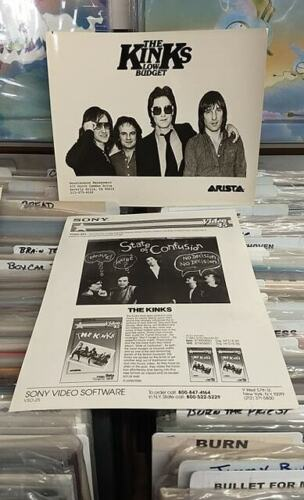 KINKS  - RARE 1979 ARISTA  8X10 PRESS PHOTO + STATE OF CONFUSION PRESS SHEET