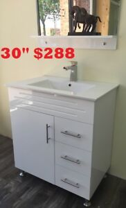"MODERN BATHROOM 30"" $288.  SHOWER PANEL $186"