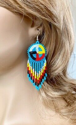 Seed Beaded Earrings - NATIVE STYLE BEADED HANDCRAFTED ETHNIC BLUE SEED BEADED EARRINGS E60/15